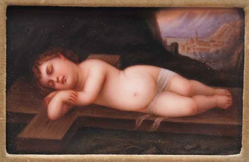 2: Antique framed hand painted porcelain plaque of recl - 2
