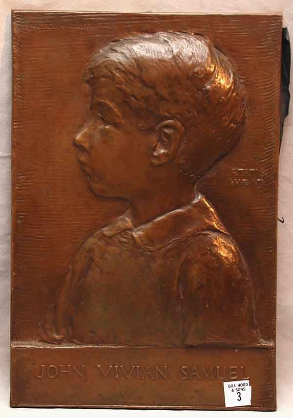 3: Bronze plaque of young boy's profile, born Mass. 189