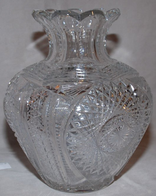 "4: American cut glass bulbous vase, 10 1/2""hL"