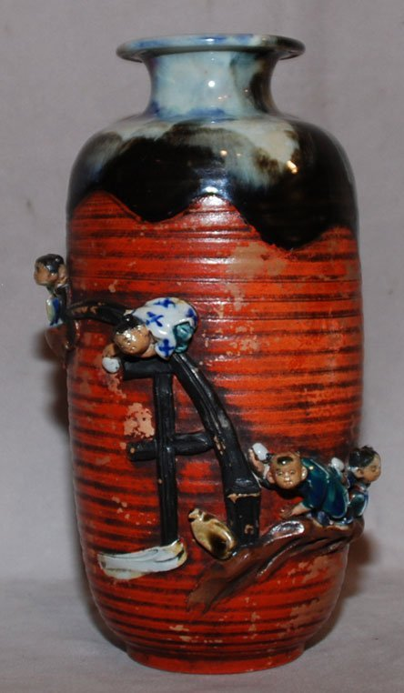 6: Japanese Sumida Gawa Pottery Vase, boys on bridge, e