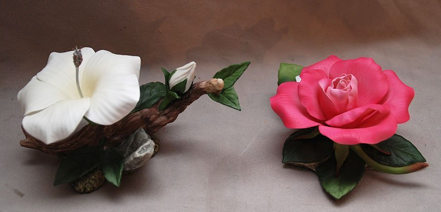 7: Boehm porcelain pink rose and white hibiscus