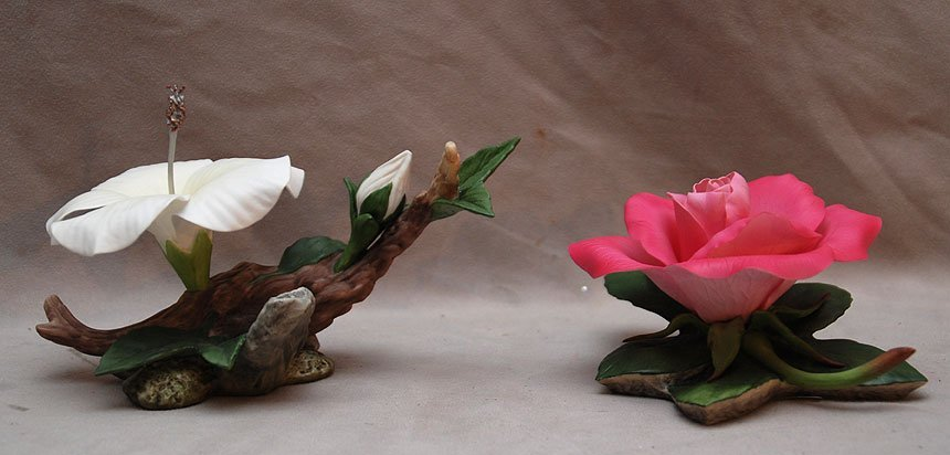 7: Boehm porcelain pink rose and white hibiscus - 2