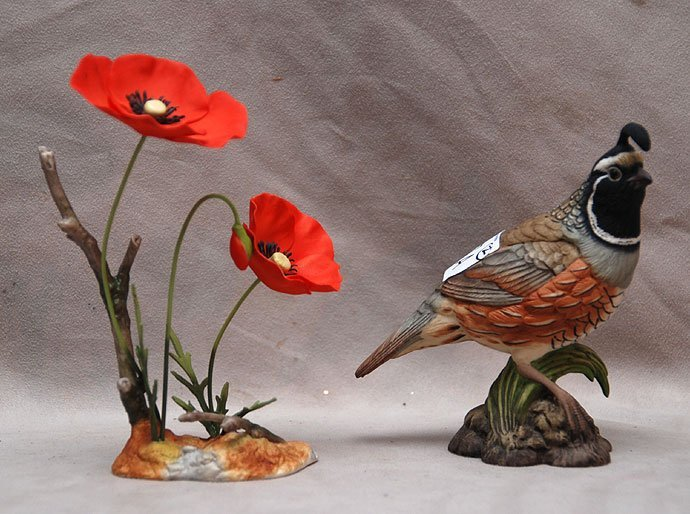 7A: 2 pcs. Boehm porcelain, poppy and quail