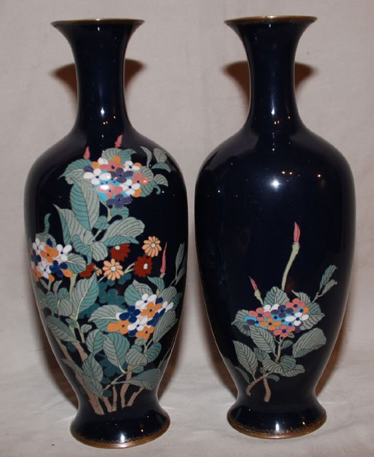8: Pair of Japanese ANDO style cloisonné vases, late 19