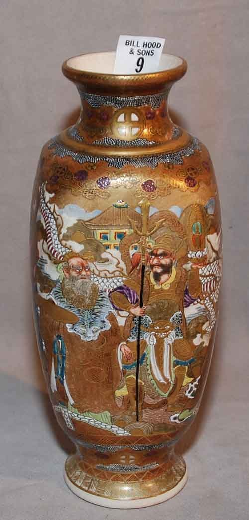9: Japanese Satsuma vase, immortals, early 20th c,  9 1