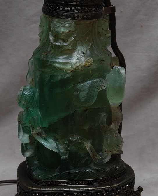 12: Chinese green figural carved quartz lamp banded wit - 6