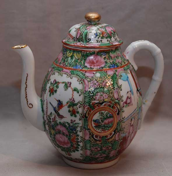 "15: Rose Medallion teapot, stamped ""China"" 7 1/2""h"
