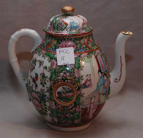 "15: Rose Medallion teapot, stamped ""China"" 7 1/2""h - 2"