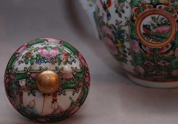 "15: Rose Medallion teapot, stamped ""China"" 7 1/2""h - 3"