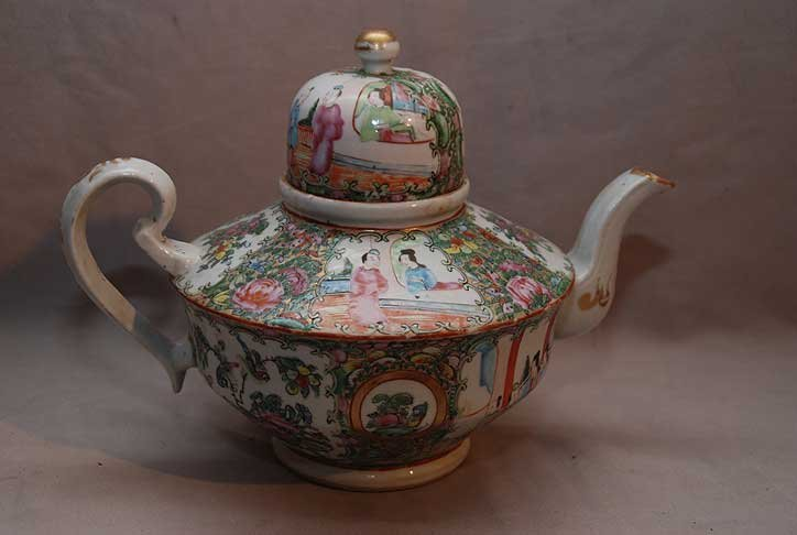 "16: Large Rose Medallion teapot, 8""h"