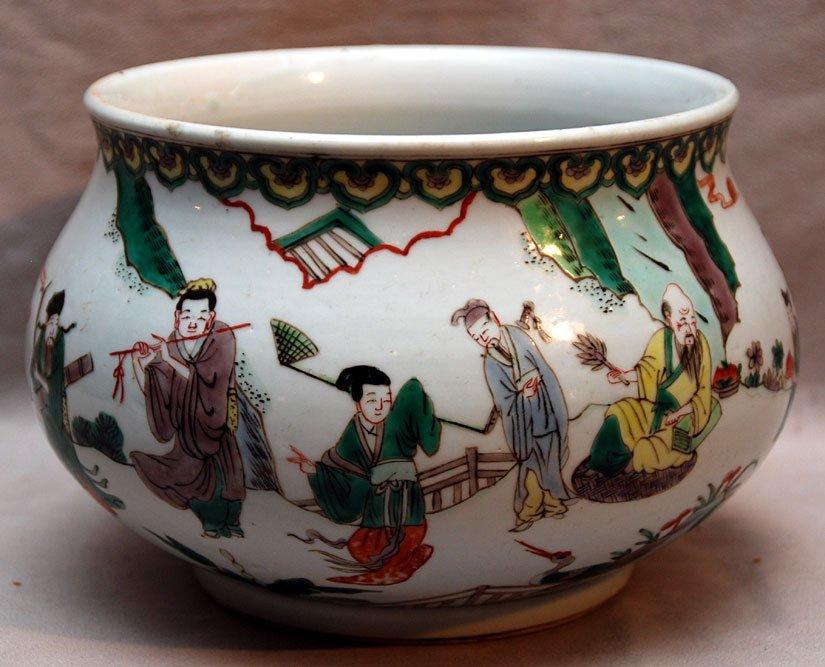 22: Chinese Famille Verte porcelain bowl, landscape wit