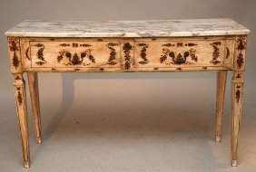 Hand Painted Italian Console With Marble Top Over