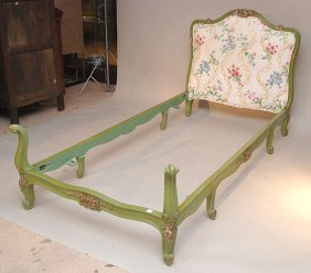 Pair Painted French Style Twin Headboards, Footboa