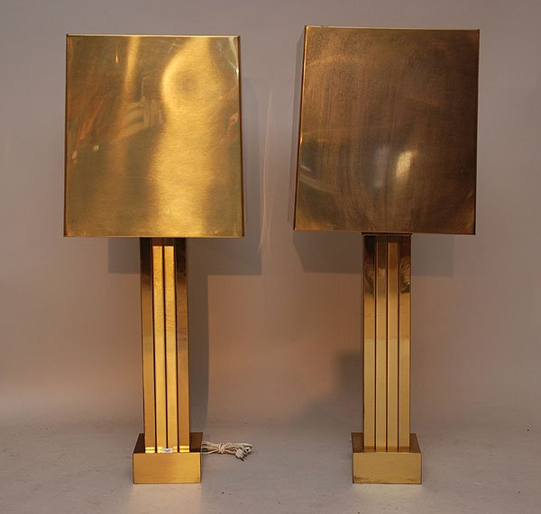 175: Pr. Brass Table lamps & Shades, 44inches overall