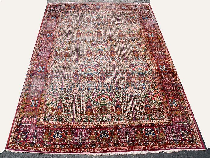 176: Persian Kerman Vase Carpet, ca. 1930's-40's, Tree