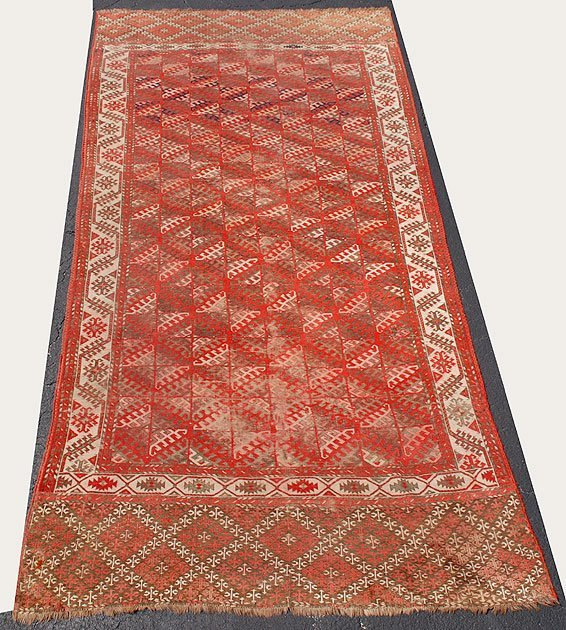 179A: Large Antique Tribal Rug, some wear,