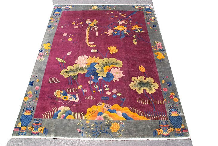 184A: Old Chinese Room size Nicols Rug 9 x 12