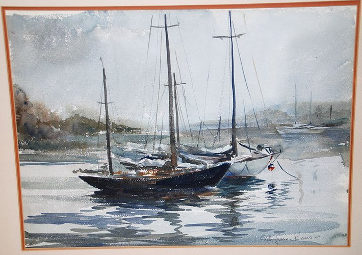 295: Watercolor signed Schepens Kraus, Sailboats in the