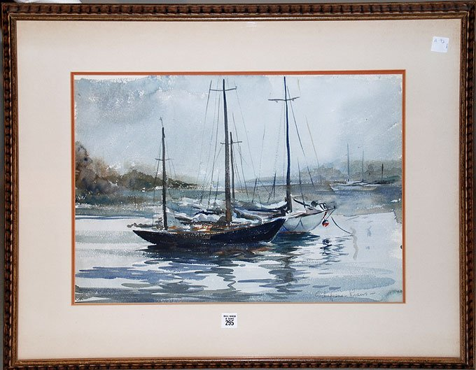 295: Watercolor signed Schepens Kraus, Sailboats in the - 2