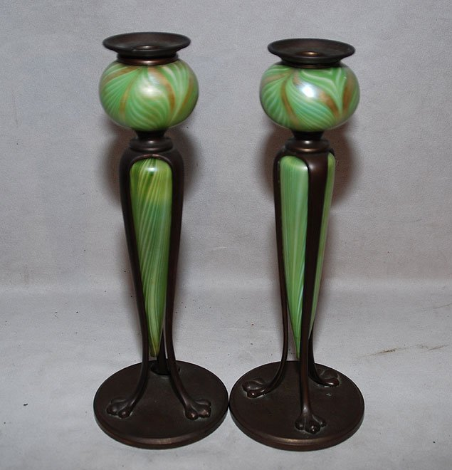 2: Art Glass & Bronze Candleholders, After Tiffany:  be