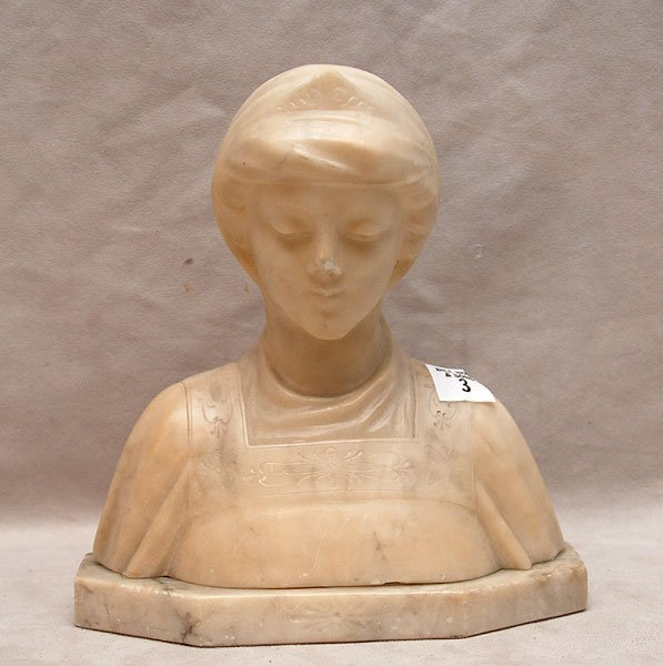 3: Alabaster sculpture of female bust, made in Italy, a