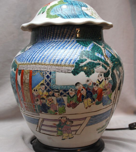 "5: Chinese ginger jar made into lamp (14 1/2""h), sold t"