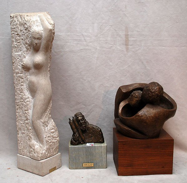 9: 3 Sculptures by Lillian Bernstein, one stone carving