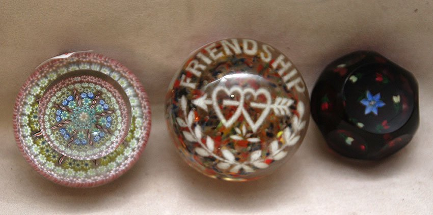 "11: 3 glass paperweights, incl; 1 ""friendship"", 1 Perth"
