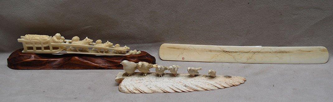 "12: Ivory Japanese page turner (9 1/2""L) , Walrus ivory"