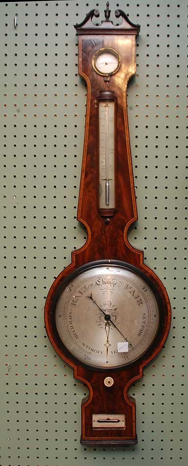 15: 19th Century inlaid English Mahogany Barometer, Byw