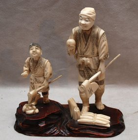 "2 Chinese Ivory Figures On Attached Wood Stand, 4""h"