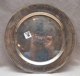 """Sterling Reticulated Platter, Monogram, 15oz, 11""""di"""