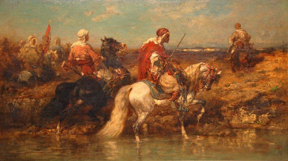 100: Adolf Schreyer Painting Arab Horsemen Orientalist