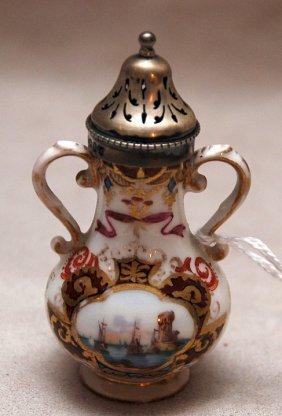 Miniature Meissen Muffineer, English Sterling Remo
