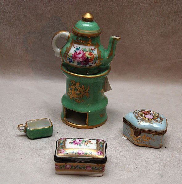 111: Miniature Limoges teapot on stand and 2 porcelain