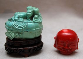 Covered Turquoise Box And Coral Laughing Buddha He