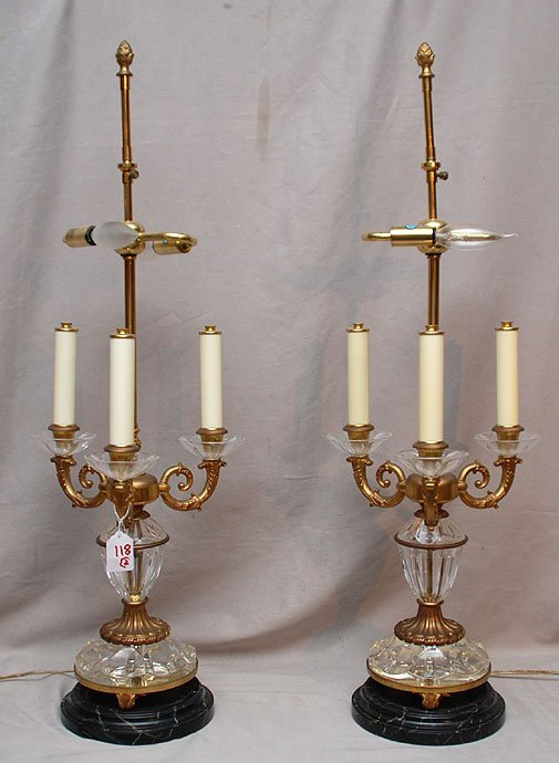 118: Pair of 3 branch glass & gilt metal lamps on Faux
