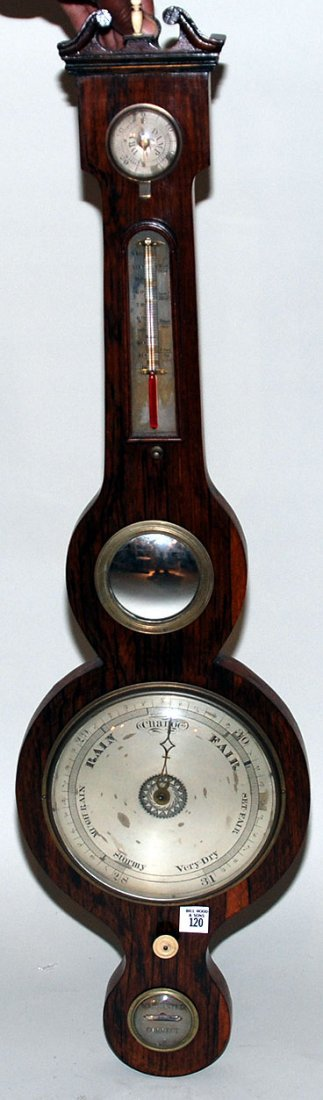 120: Antique English barometer in Rosewood look case, 3