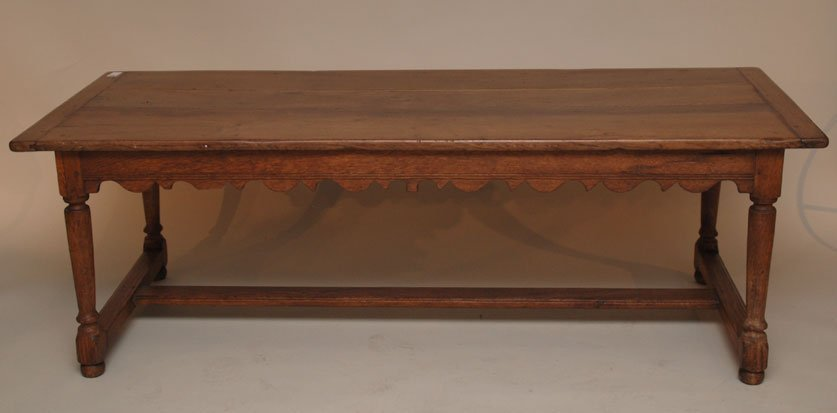 133: Country French coffee table with bread board ends,