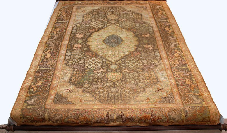 137: Rare Antique Turkish Silk and metal thread Rug