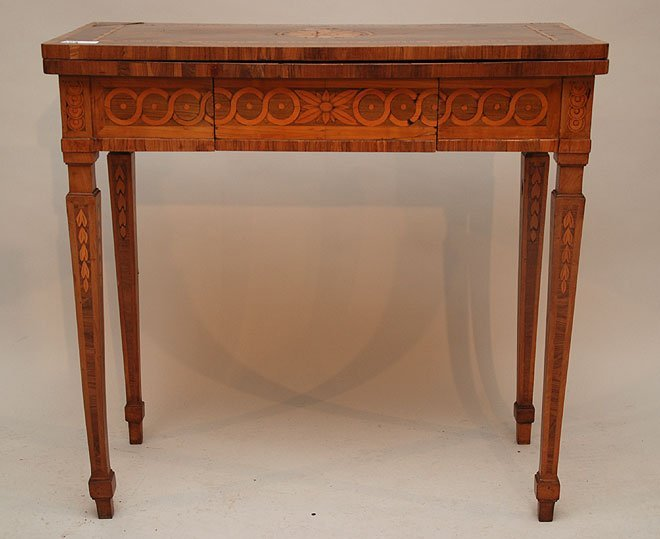 194: Italian neo classical walnut & fruitwood marquetry