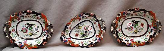 303A: Three 19th c. English ironstone plates in an Imar