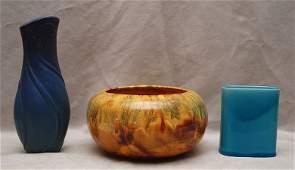 "389: 3 pcs. Pottery; Van Briggle vase (9 1/2""h), Rookwo"