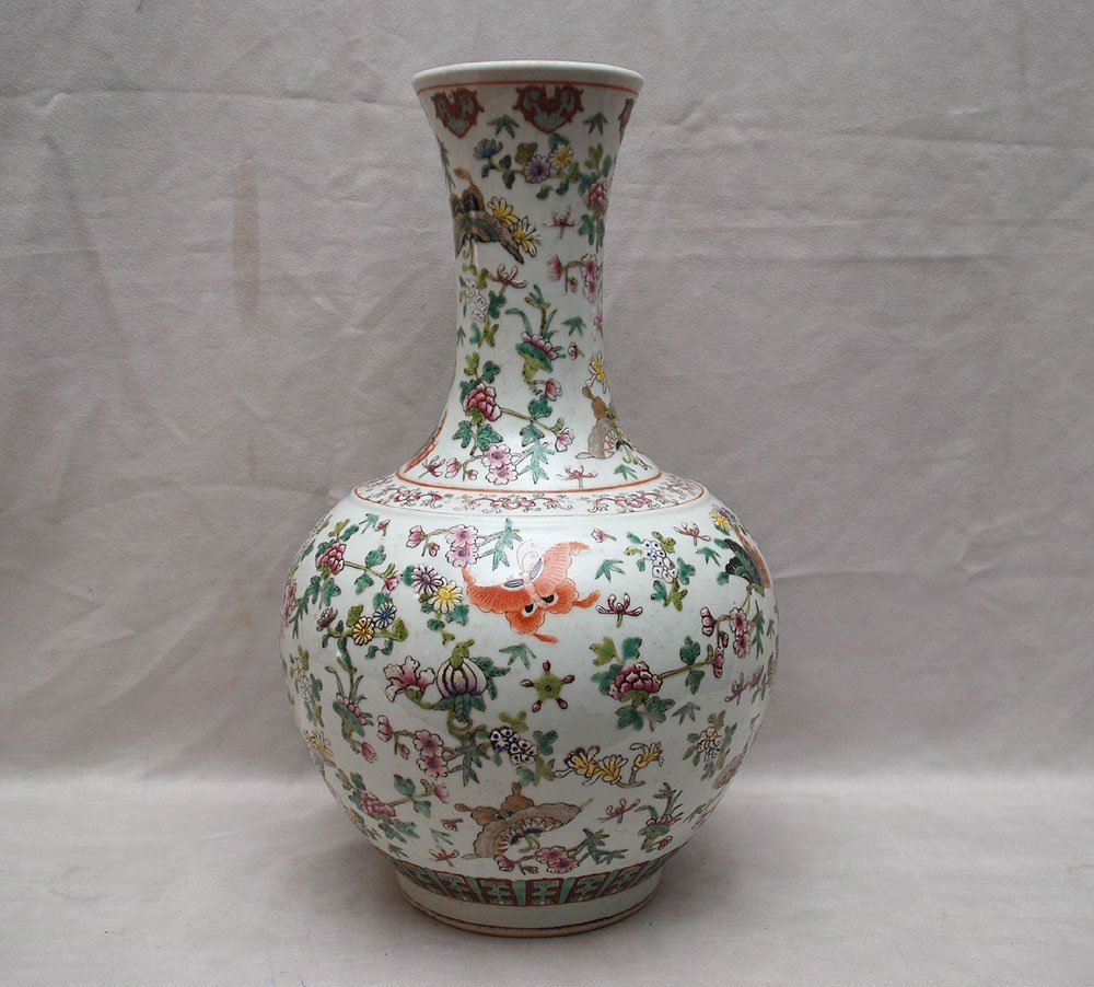 "8: Chinese Famille Rose vase, 19th c, 16""h"