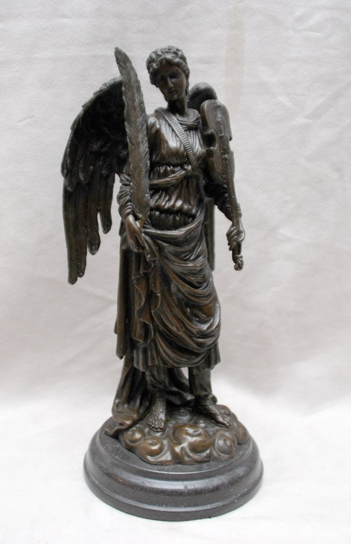 "24: Bronze winged angel with fine detail, 12""h"