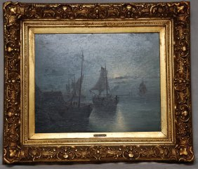 19th Century Signed R Giffinger, Oil On Board, Boat