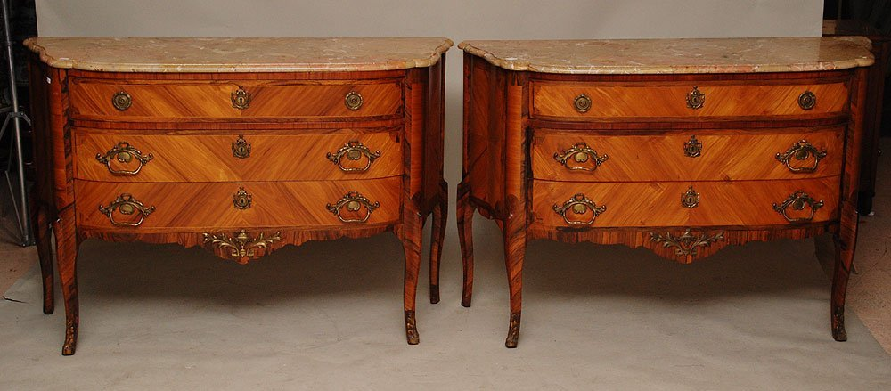 110: Pair 3 drawer chests, parquetry veneer with heavy