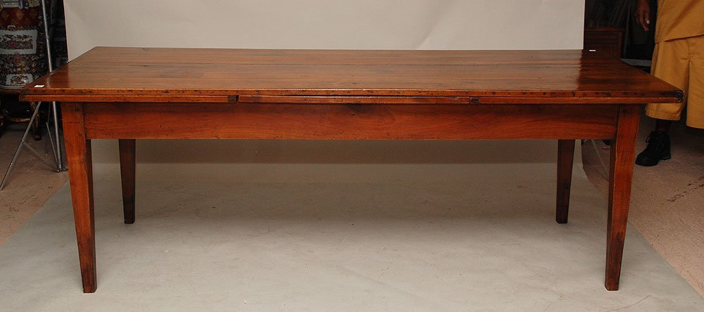 111: Cherry wood pegged country farm table, 19th c, wit