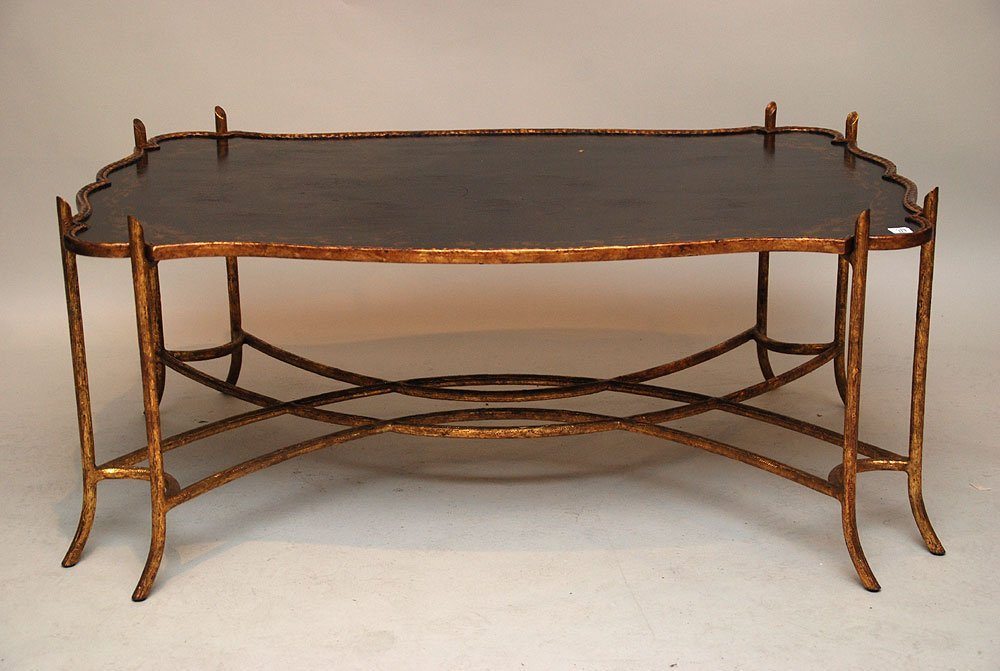 113: Black & gold chinoiserie coffee table, mounted on