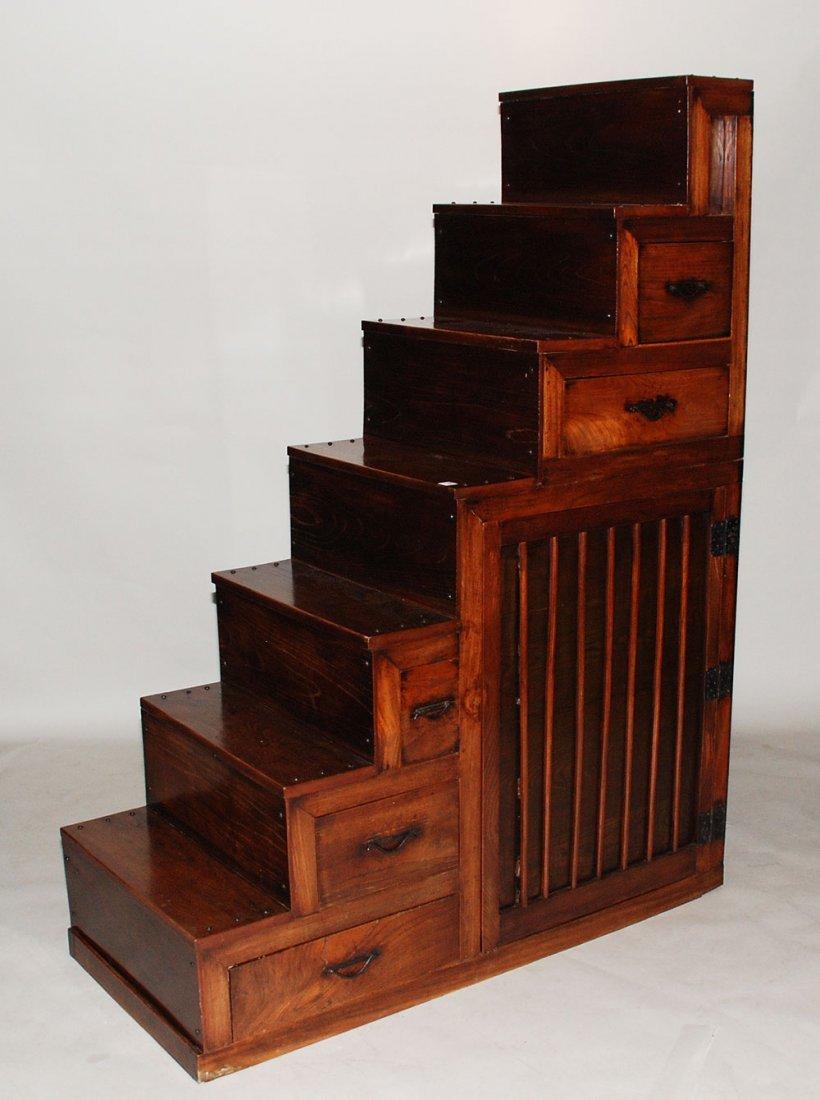 116: Japanese stair/steps tansu, keyaki and hinoki wood